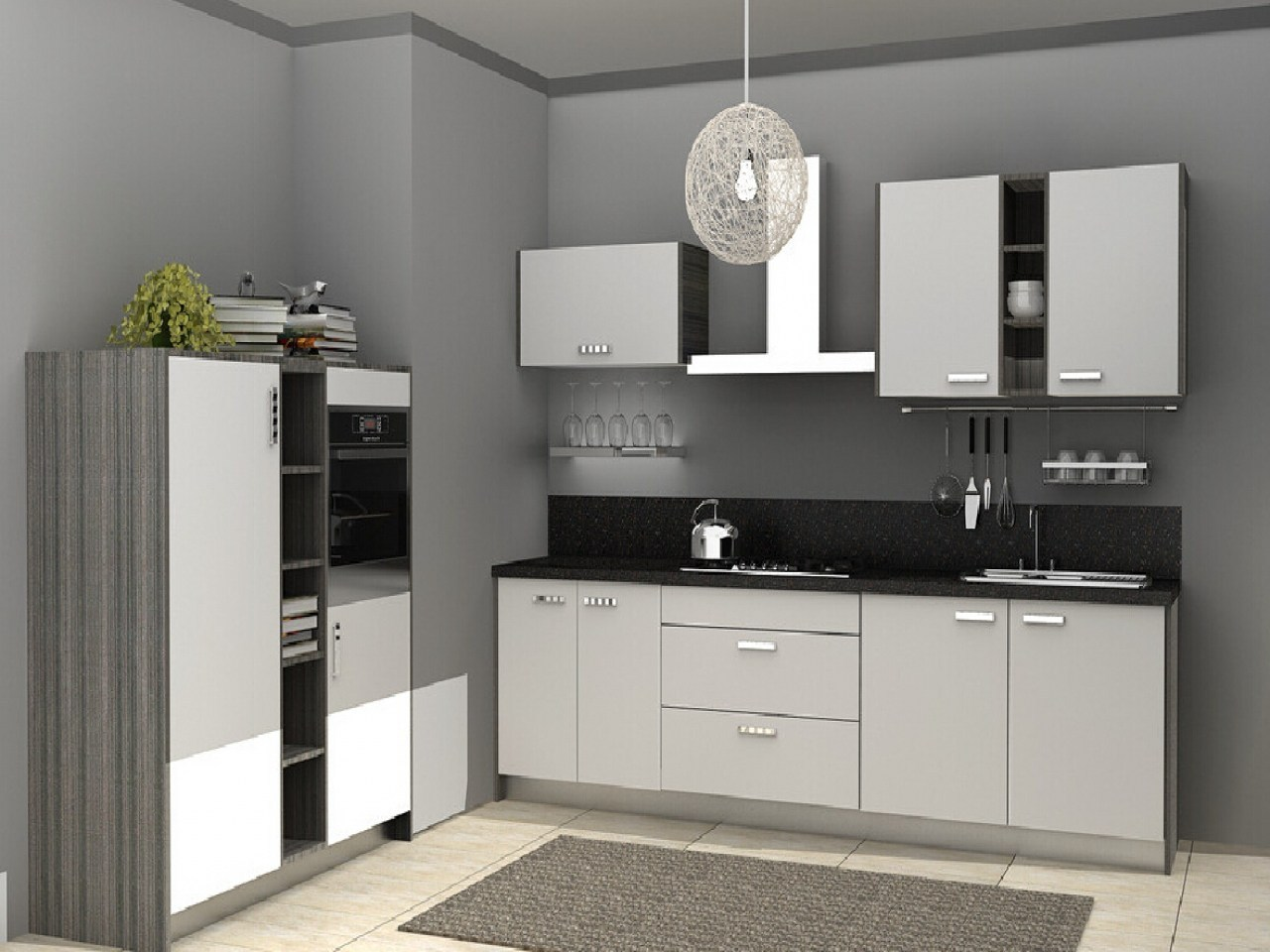 Gray Kitchen Walls with White Cabinets