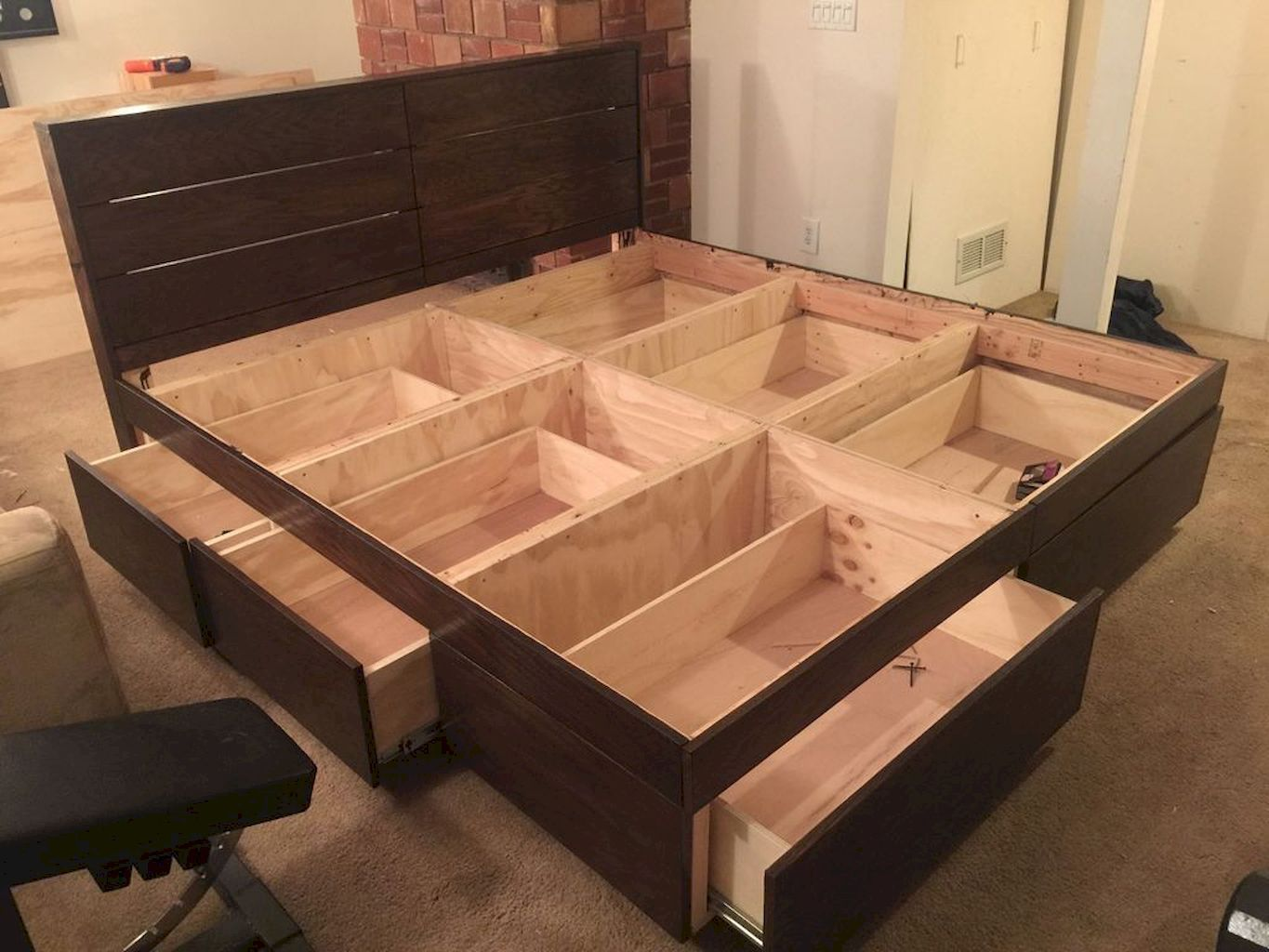 DIY Bed Frame with Storage
