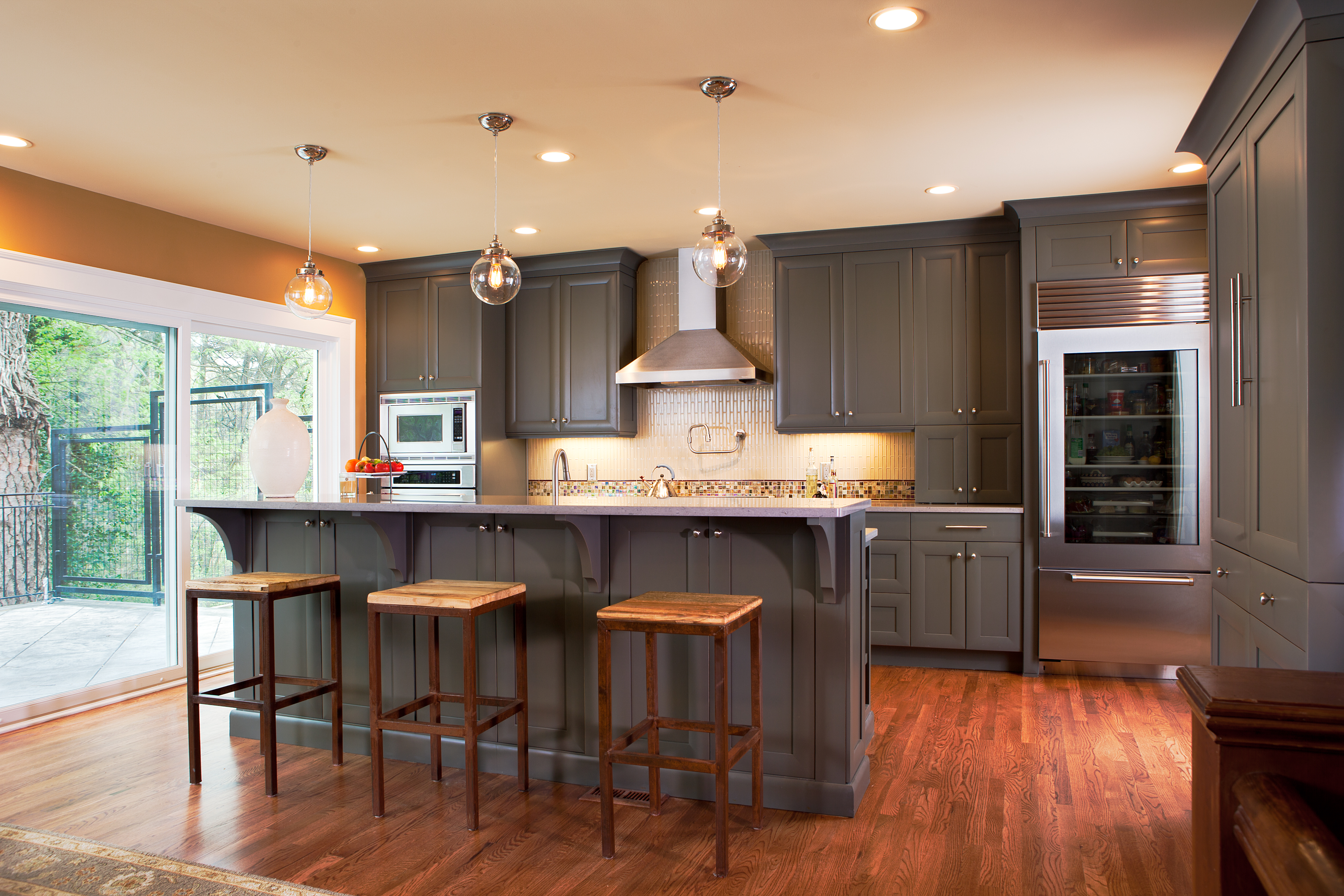 Gray Cabinets And Wooden Floor