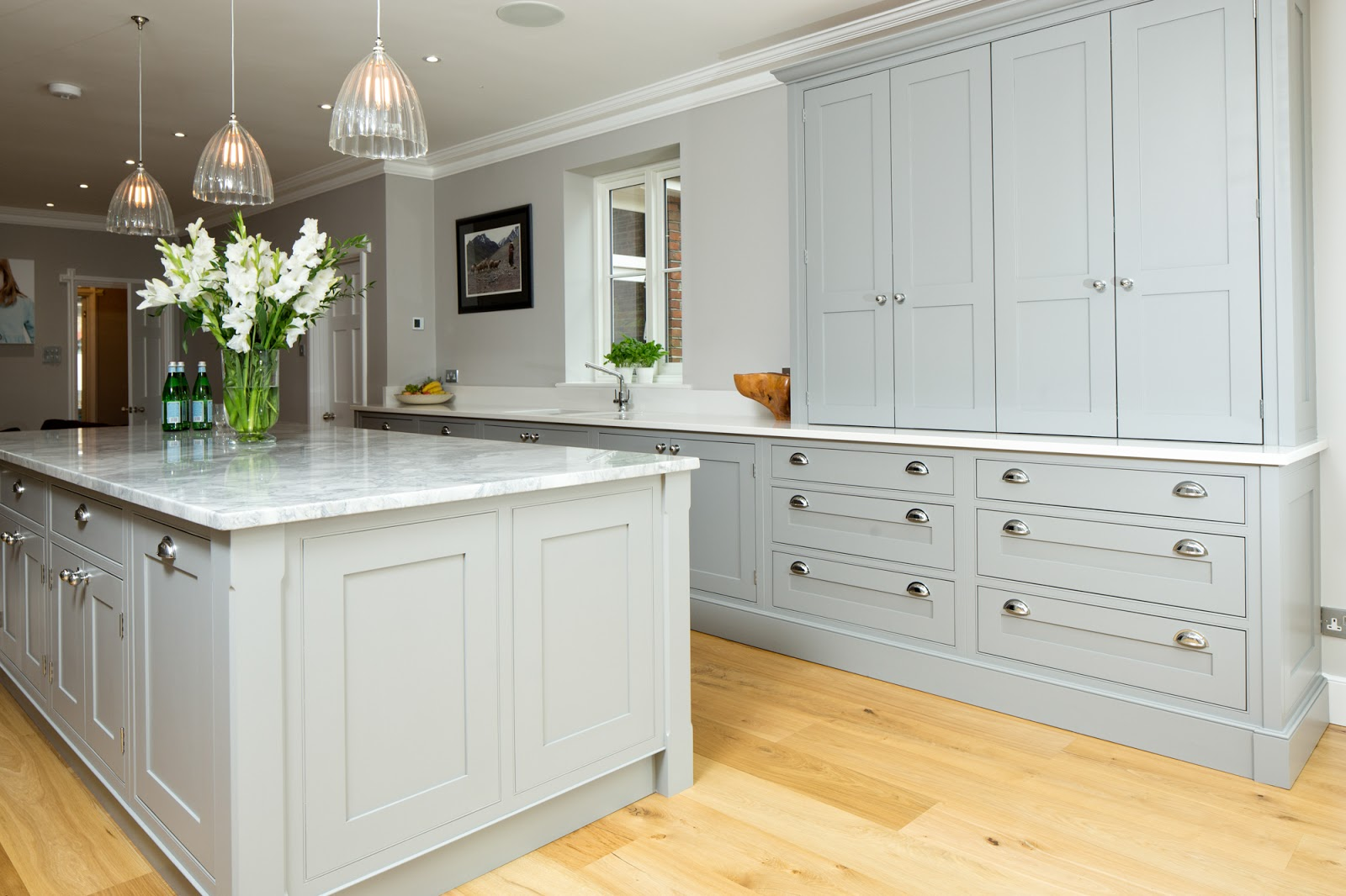 White and Gray Kitchen Cabinets