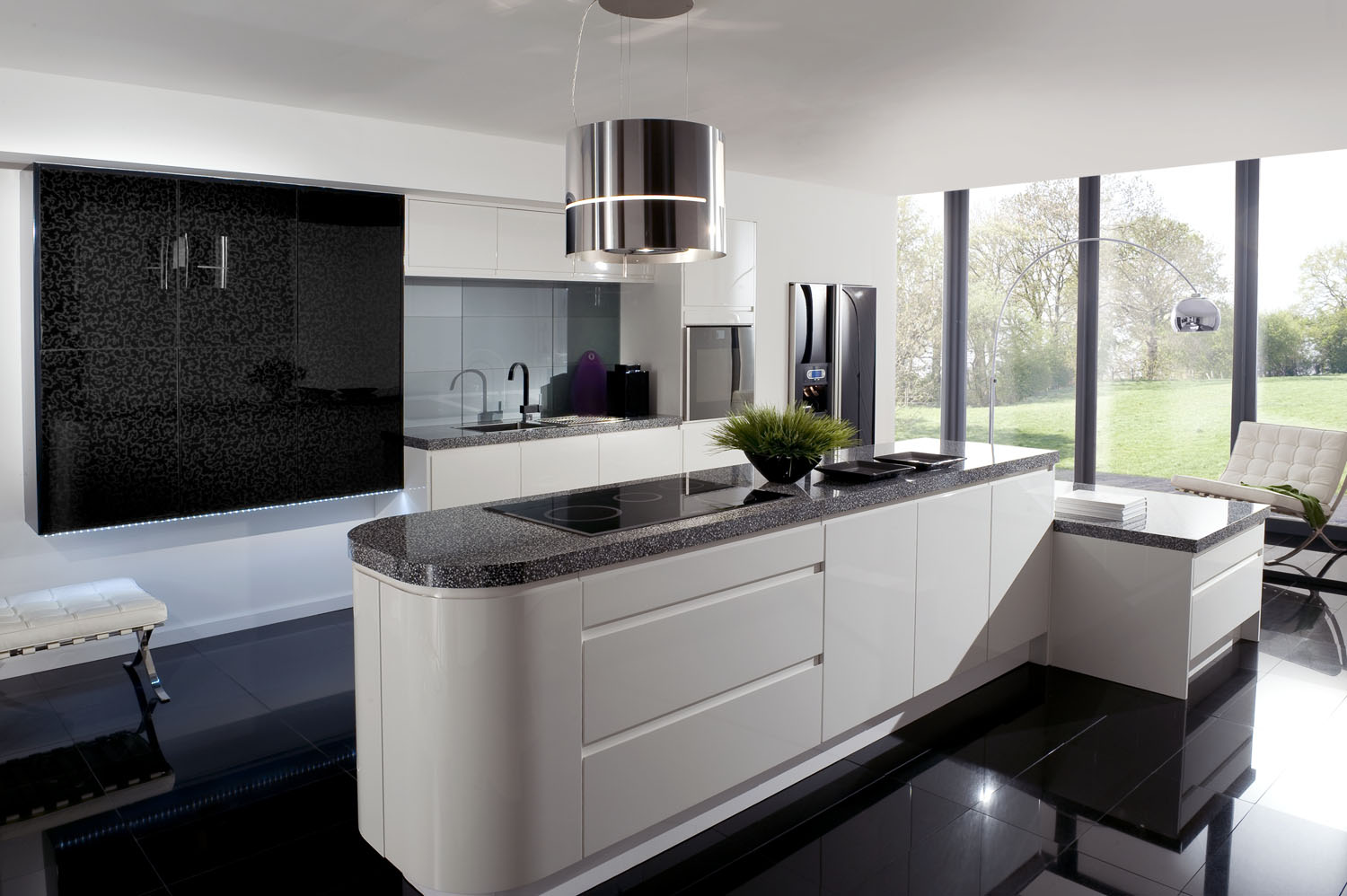 Marble Counter and Gray Kitchen