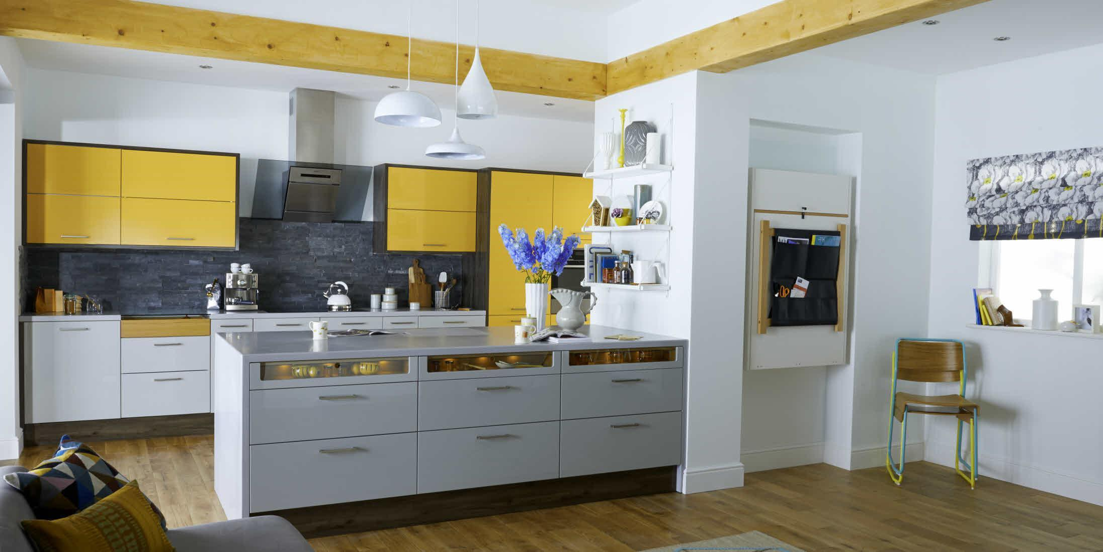 Grey yellow kitchen cabinets
