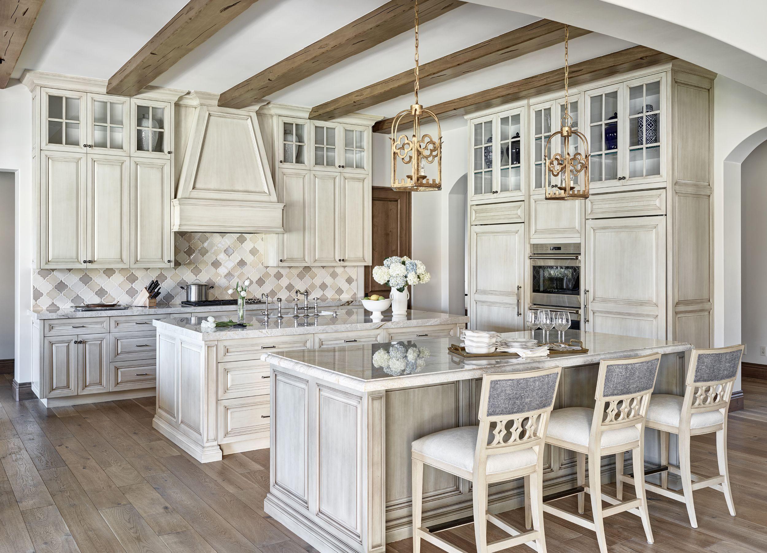 Shabby Chic Gray Kitchen Cabinet