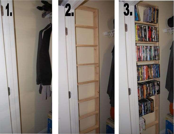 Build a DVD shelf inside of the closet