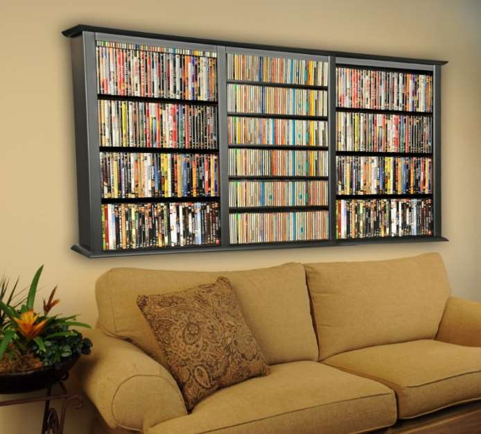 Build a DVD shelving unit on the back of a closet door