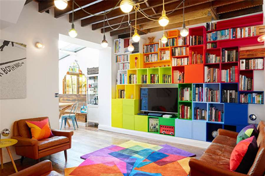 Colourful DVD and books Storage Cabinets