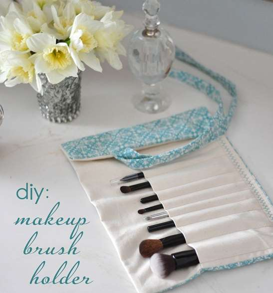 DIY textile makeup brush holder