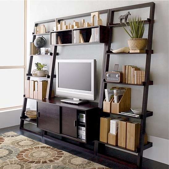 Leaning media stand and bookcase