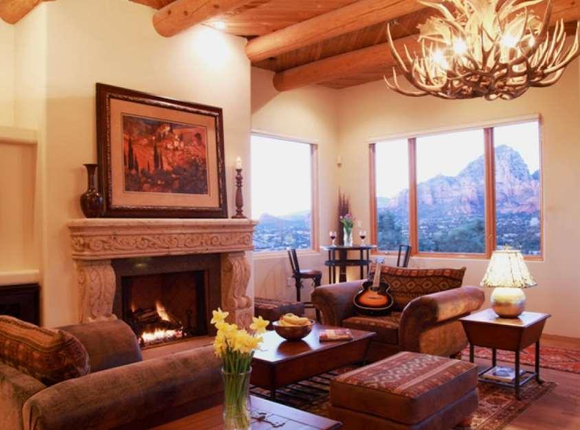 Masculine Southwestern Adobe Living Room