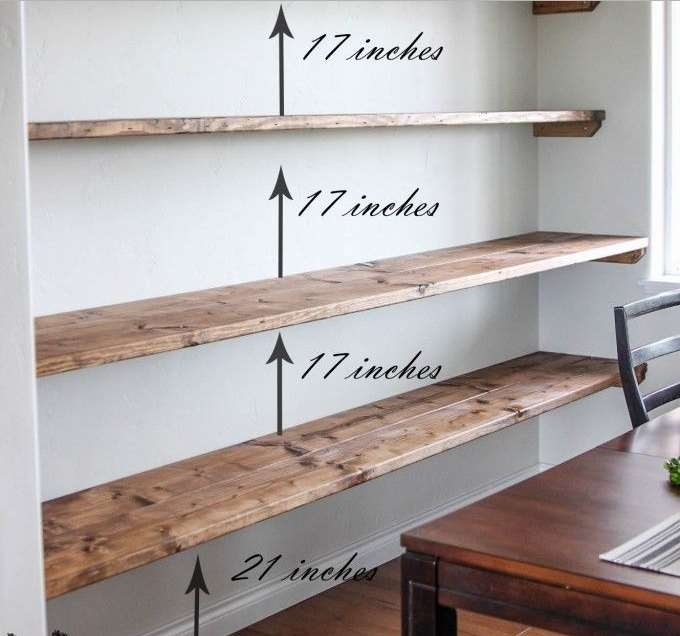 Put floating shelves on a narrow wall between two doors
