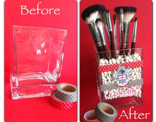 Washi Tape Makeup Brush Holder Washi Tape Makeup Brush Holder This cute makeup brush holder with Washi tape will be a lovely addition to your dresser. With a clear vase of basically any size wrapped by Washi Tape, makeup is even more fun.