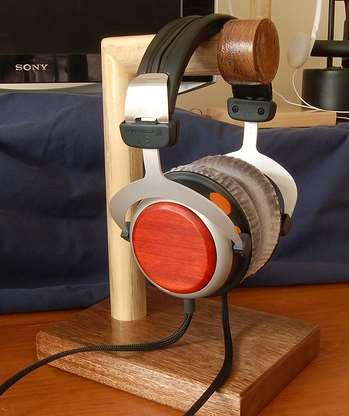 wood headset stand