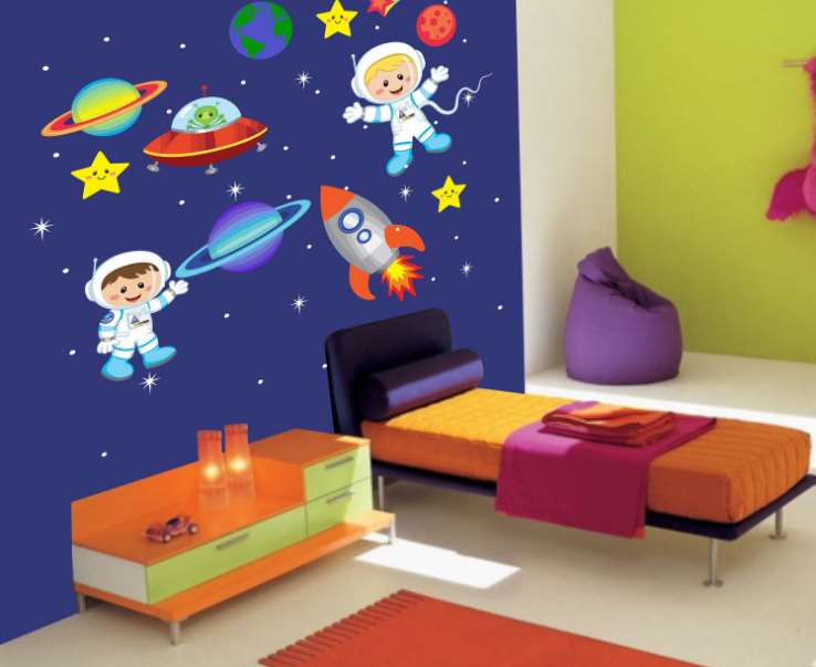 Galaxy Bedroom. Space Themed Room