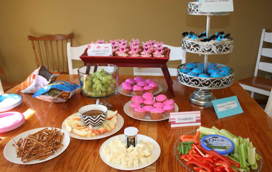 gender reveal party food and drink