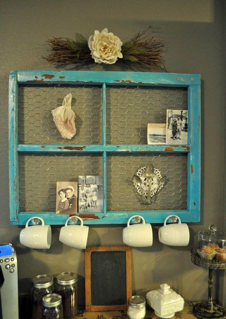 Old window frame turn Coffee bar
