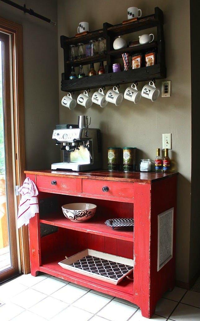 coffee bar ideas Rolling coffee cart
