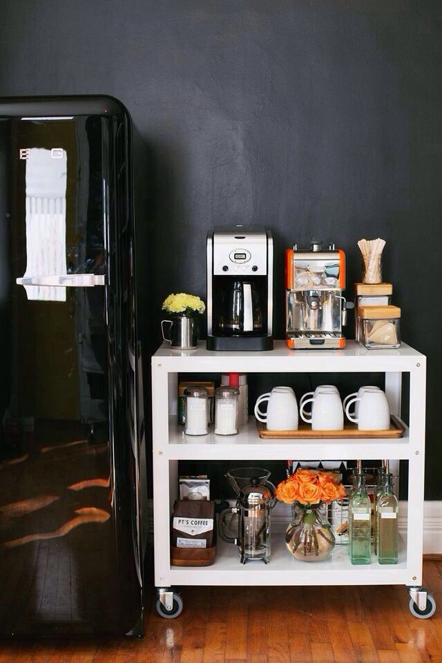 coffee bar ideas Rolling coffee cart