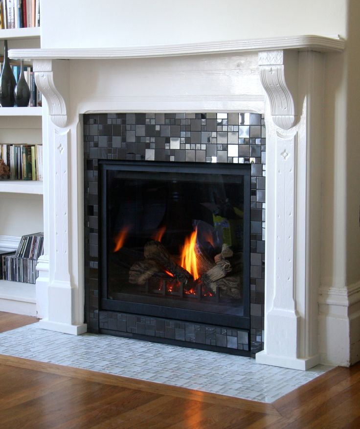 Image result for glass-like mosaic fireplace tiles