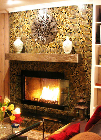 Image result for glass tiles with circles fireplace