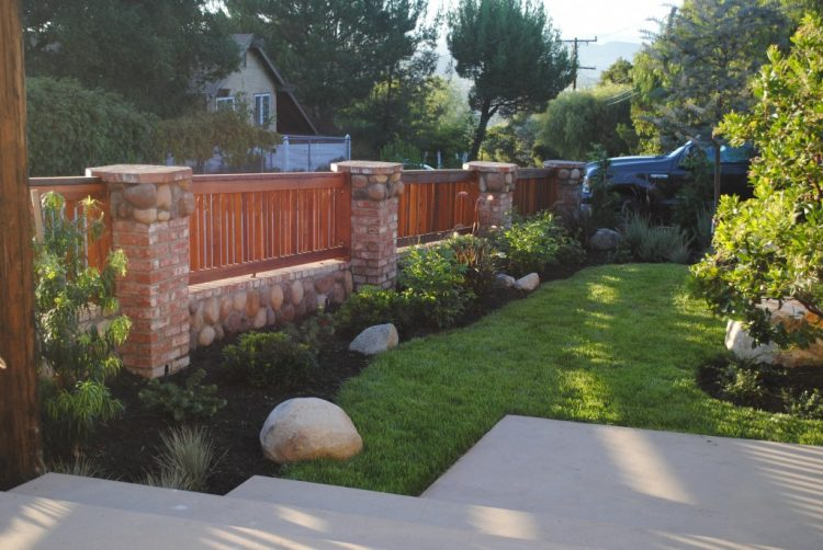 Image result for wood and brick garden fences
