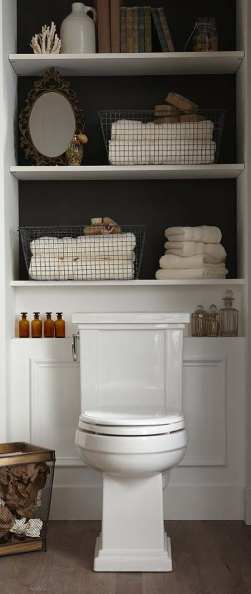 Linen Storage Ideas: Small Shelves over Toilet