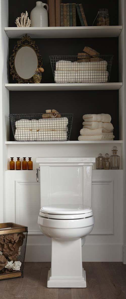 Linen Storage Ideas: Small Shelves over Toilet