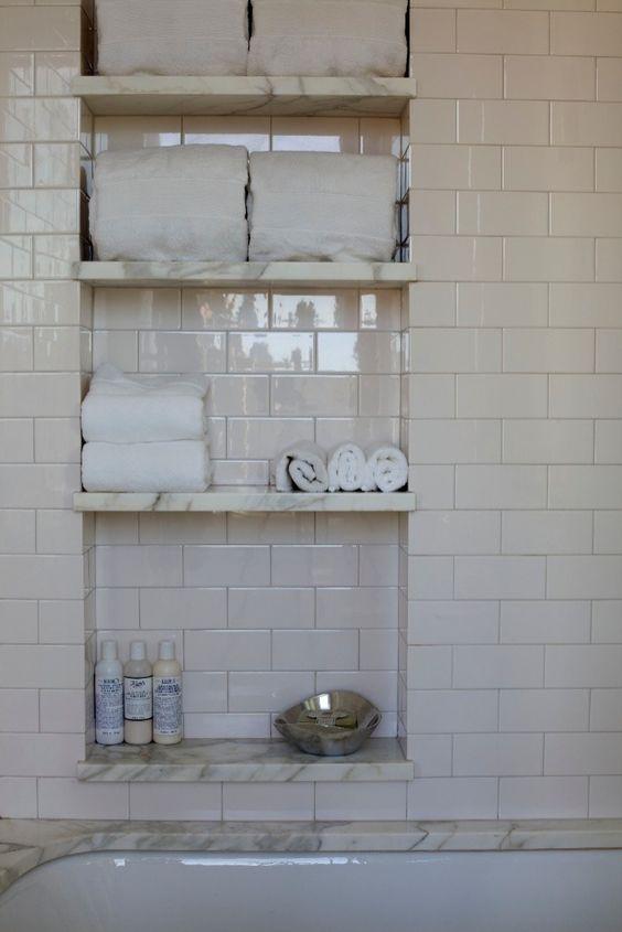 Enclosed Bathroom Walls for Linen Storage