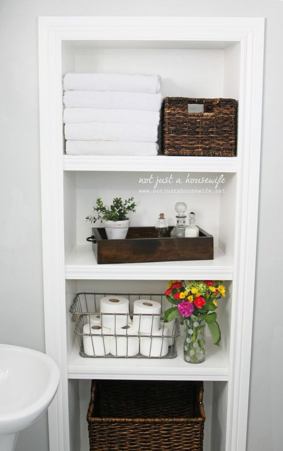Baskets as Bathroom Linen Storage Ideas