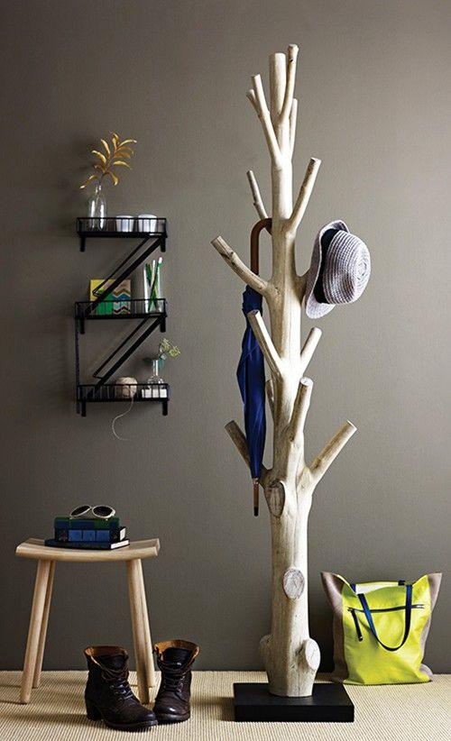 A DIY Tree Bark Hat Rack