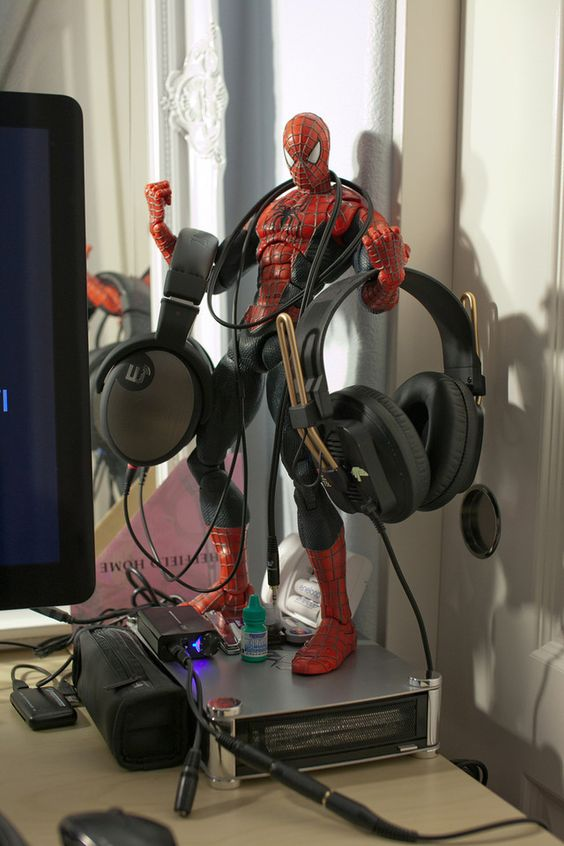A Spiderman Action Figure as a DIY Headphone Stand