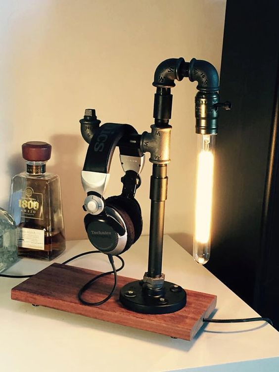 A DIY Headphone Stand Made of an Old or Used Tripod/Small Pipe/Microphone Stand