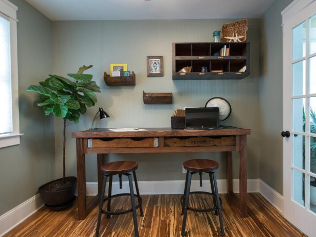 A DIY Computer Desk Made of Wood With Wooden Frames for Legs