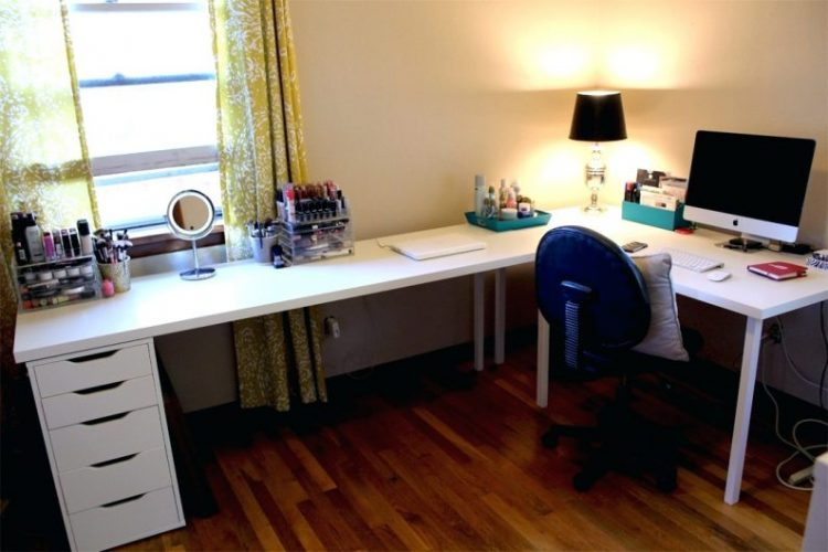 White L Shape Desk DIY