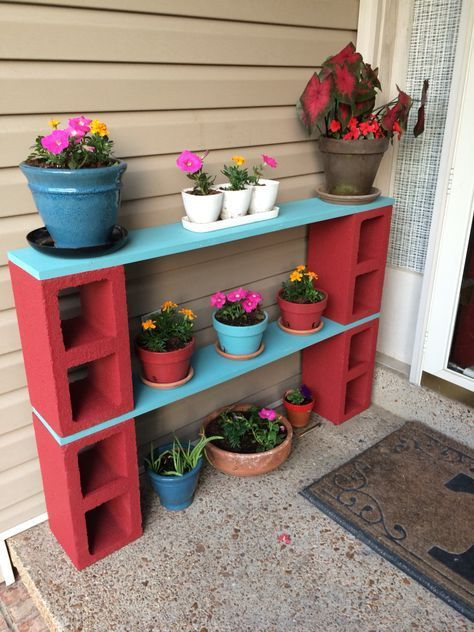 Red Blue Plant Stand