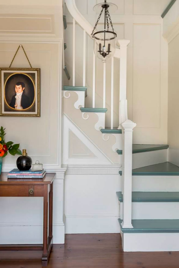 Painting with Dark Green on The Steps and White Under Them