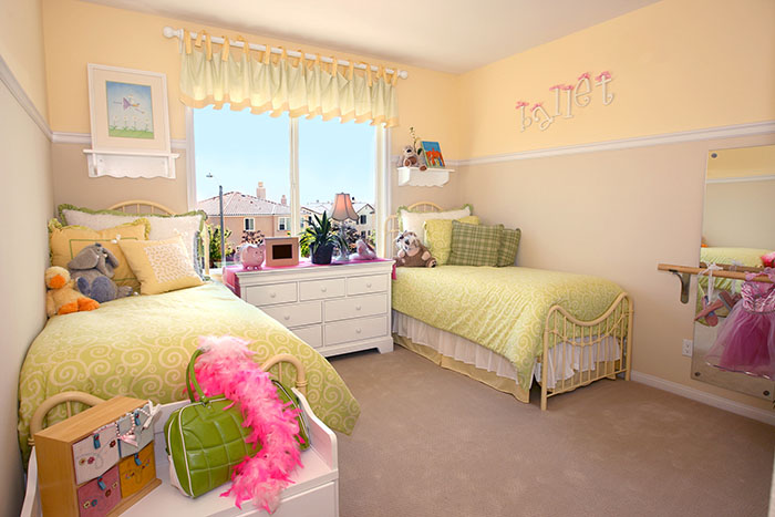 Yellow Girl's Bedroom with Twin Beds
