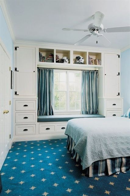 blue bedroom storage ideas