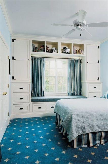 blue bedroom storage ideas