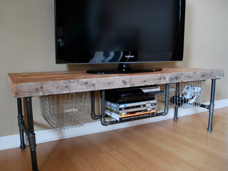 DIY TV Stand with Copper Pipe