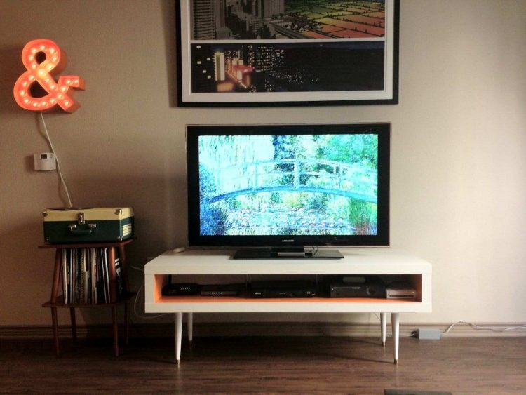 DIY TV Stand with Stick Woods Legs