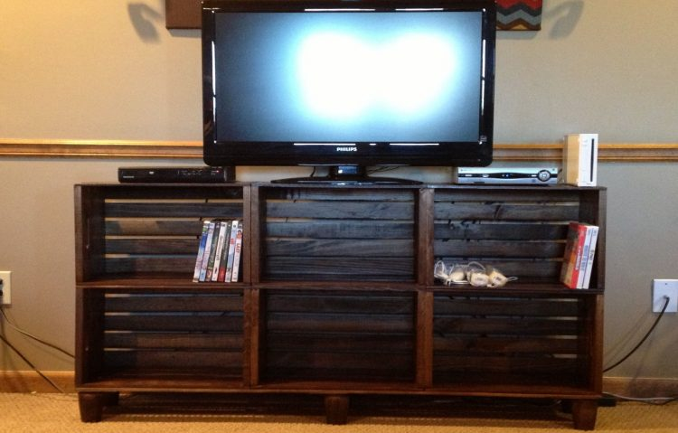 DIY TV Stand with Wooden Crates