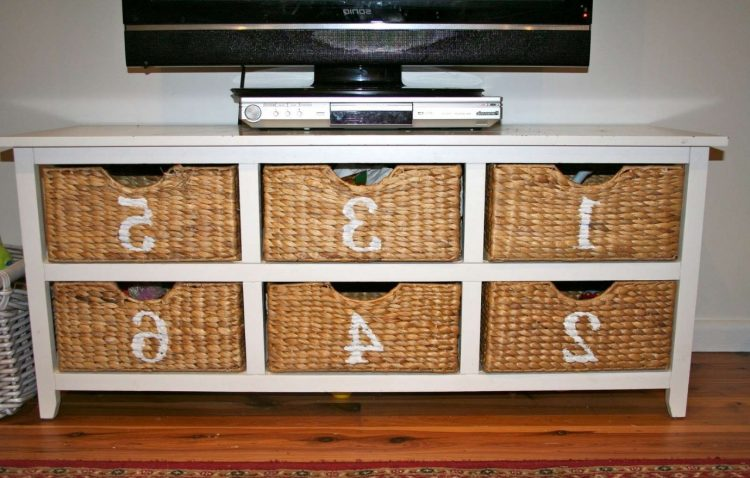 DIY TV Stand with Baskets