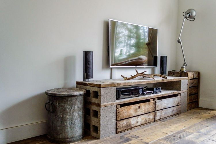 DIY TV Stand with Cinder Blocks