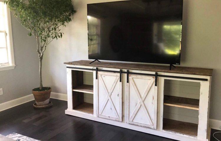 DIY TV Stand with Sliding Door