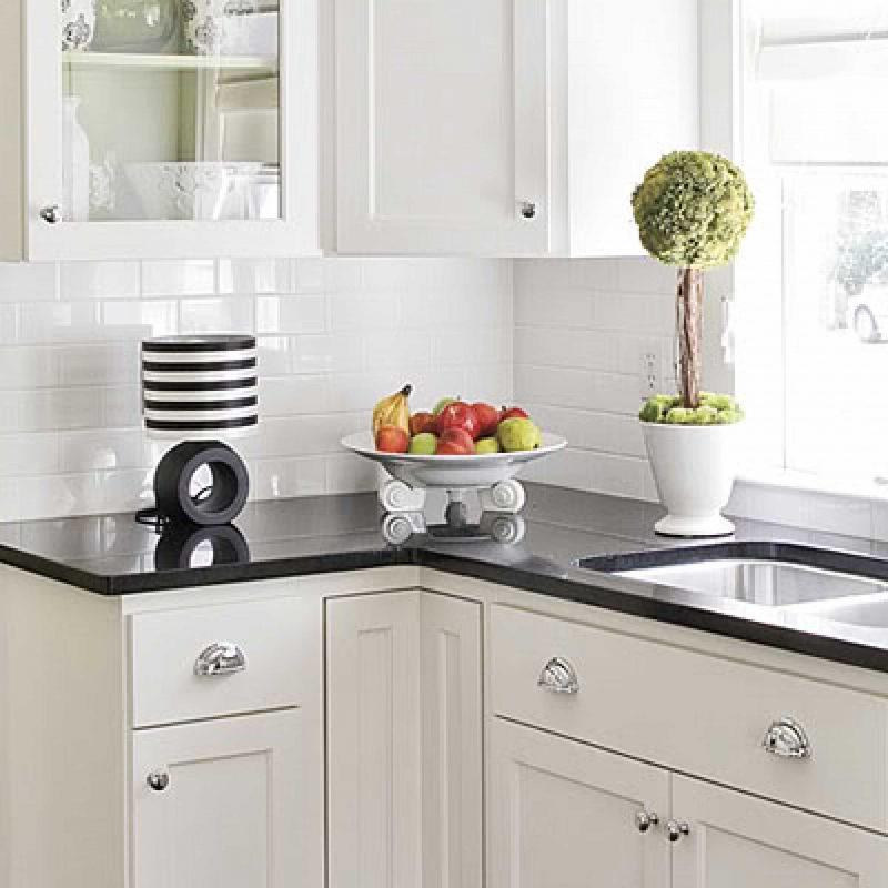 White Kitchen Backsplash for Narrow Space