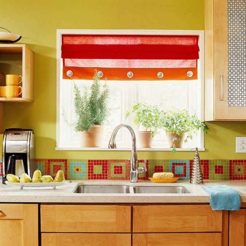 Colorful Square Mosaic for Backsplash Accent