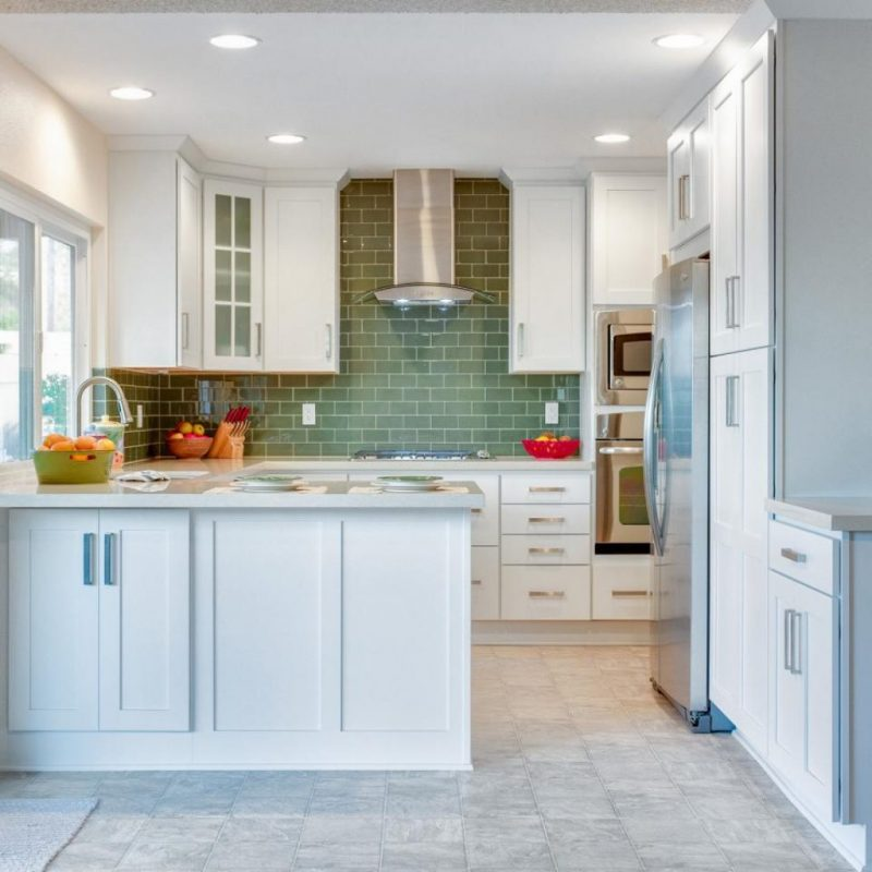 Pickle Green to Accentuate White Kitchen Set