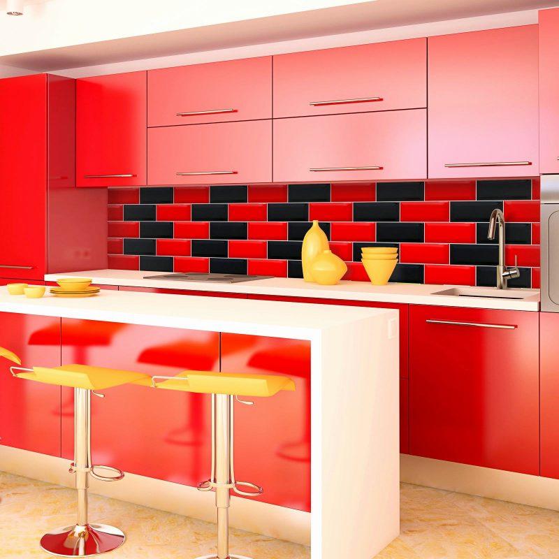 Splendid Red Kitchen Backsplash