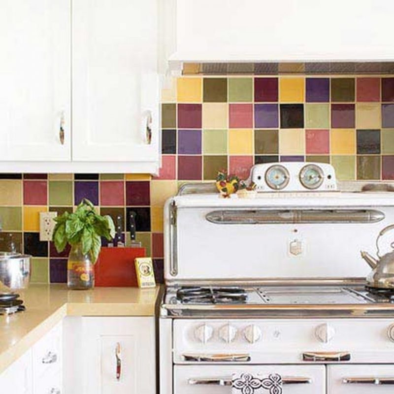Colorful Ceramic Kitchen Backsplash