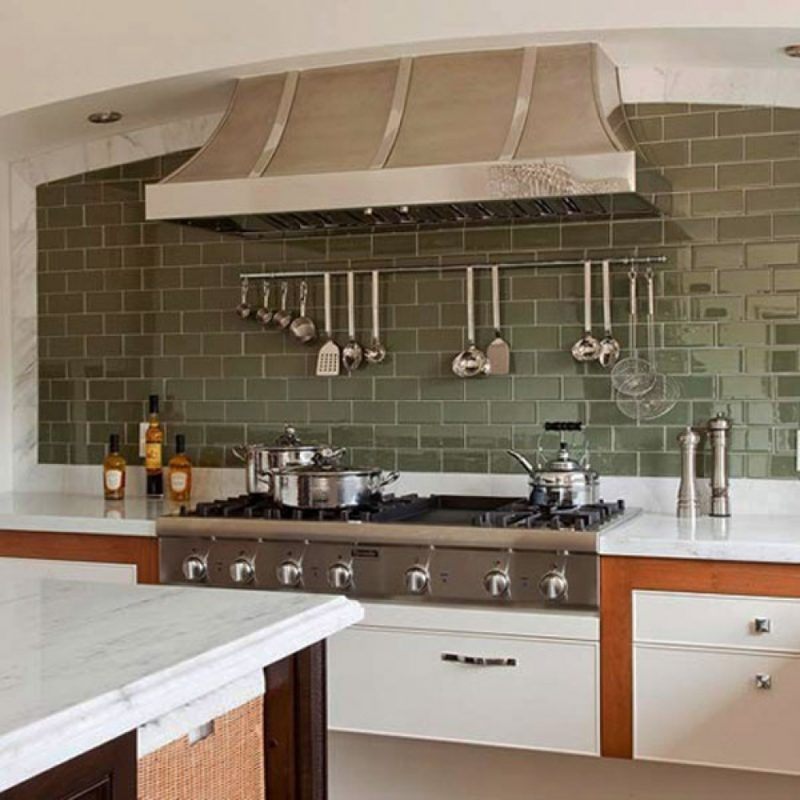 Outstanding Green Backsplash with Metal Furniture
